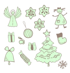 fun christmas icons with a girl vector image vector image