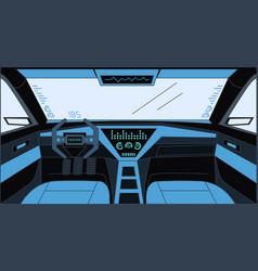 Futuristic design inside car cartoon vector