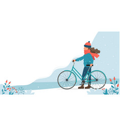 Girl with bike in park in winter cute vector