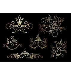 gold floral design elements - set vector image