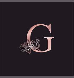 Gold rose flower letter g luxury logo elegant vector