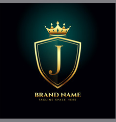golden letter j monogram crown logo concept design vector image