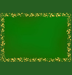Green background with border of golden leaves vector