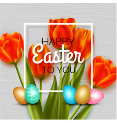 Happy easter background with red tulips eggs vector