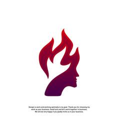 Head fire logo concept mind fire logo spirit vector