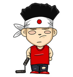 japanese boy with nunchuck or color vector image