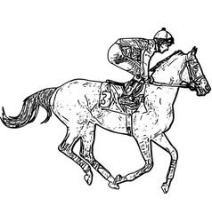 Jockey riding race horse drawing vector