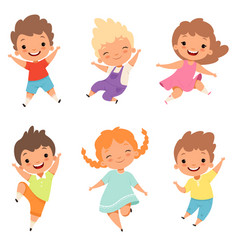Jumping children cute surprised playing crazy vector