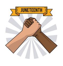 Juneteenth day handshake color freedom celebration vector