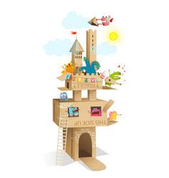 Kids cardboard castle play monsters characters vector