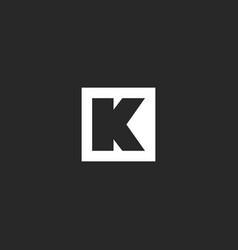 letter k logo monogram square frame geometric vector image