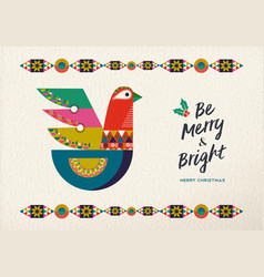 Merry christmas scandinavian bird greeting card vector