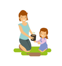 mother and daughter learning to grow plants vector image