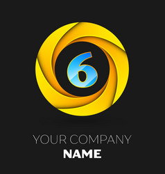 Number six logo symbol in colorful circle vector