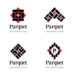 parquet logo template flooring logo template vector image
