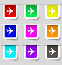 Plane icon sign Set of multicolored modern labels vector image