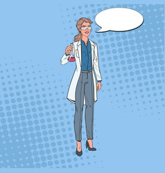 Pop art woman scientist with flask chemistry vector