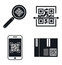 qr code mobile icons set simple style vector image