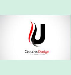 Red and black u letter design brush paint stroke vector