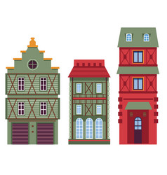 retro architecture houses or buildings classic vector image