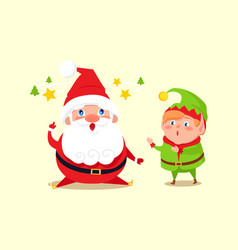 santa has idea shown by stars and tree amused elf vector image