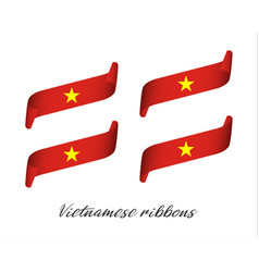 Set of four modern color vietnamese ribbons vector