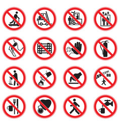 set of red circle standard prohibition signs vector image