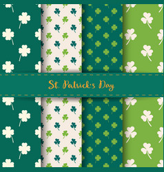 set of st patricks day seamless patterns vector image