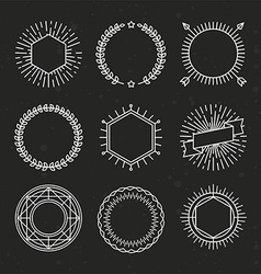 Set outline emblems and badges vector