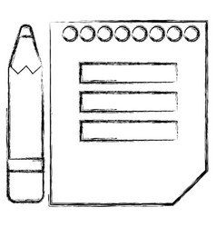 sheet of notebook with pencil icon vector image