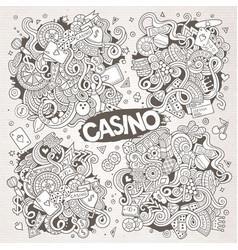 sketchy doodles cartoon set casino vector image