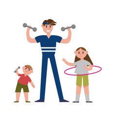 smiling father with his daughter and son doing vector image