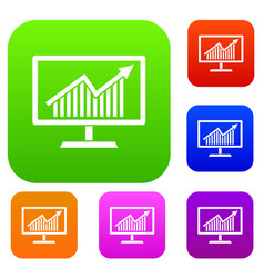 statistics on monitor set collection vector image