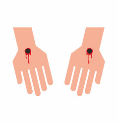 The pierced hands of jesus christ vector