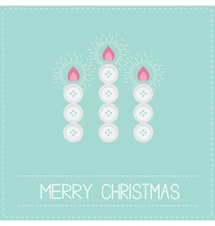 Three merry Christmas candles button applique vector image