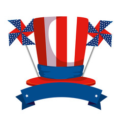 tophat with united states america flag and wind vector image
