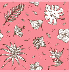 Tropical plants sketches on pink backdrop in vector