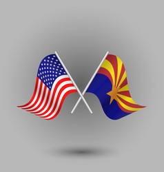 Two crossed american and flag of arizona vector