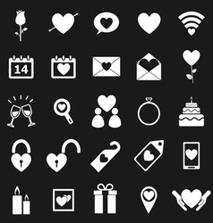 Valentines day icons on black background vector image