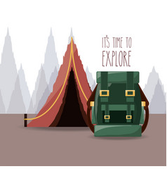 wanderlust aventure with landscape and explorer vector image