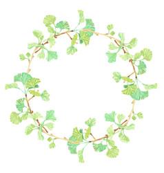 Watercolor hand drawn ginkgo branch circle wreath vector