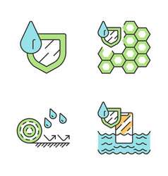 Waterproofing color icons set vector