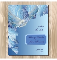 Winter frozen glass design wedding card vector image