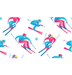 Winter sport seamless pattern skiers and snow vector