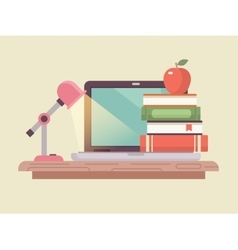 Workspace laptop and book stack flat style vector