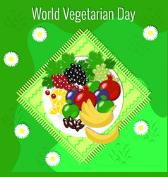 world vegetarian day fruit picnic - grass vector image