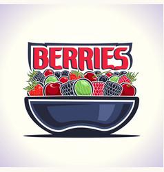 berries still life on dish vector image