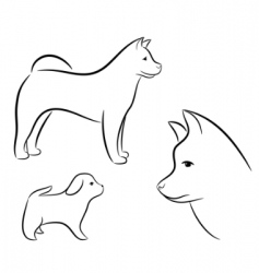 cartoon silhouette of a dog vector image