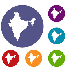 Indian map icons set vector
