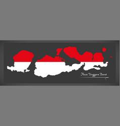 nusa tenggara barat indonesia map with indonesian vector image